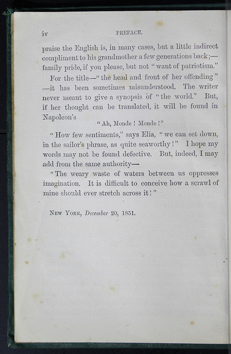 "Page iv of the Preface to the [1884] Frederick Warne & Co. ""Star Series"" Reprint"