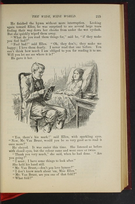 """Illustration on Page 215 of the 1903 J. B. Lippincott Co. """"New Edition"""" Reprint Depicting Mr. Van Brunt Reading to Ellen in Her Sickbed"""