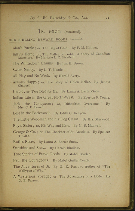 Twenty-First Page of Back Advertisements in the [1910] S. W. Partridge & Co., Ltd. Reprint