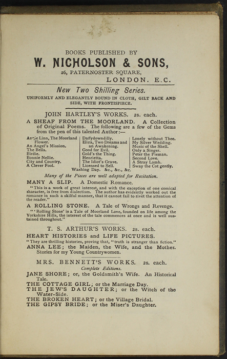 First Page of Back Advertisements in the [1887] W. Nicholson & Sons Reprint, Version 1