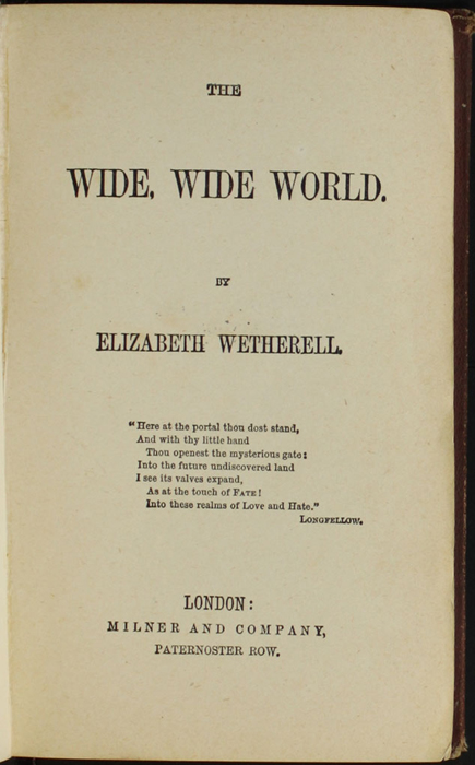 Title Page to the [1878] Milner & Co. Reprint, Version 1