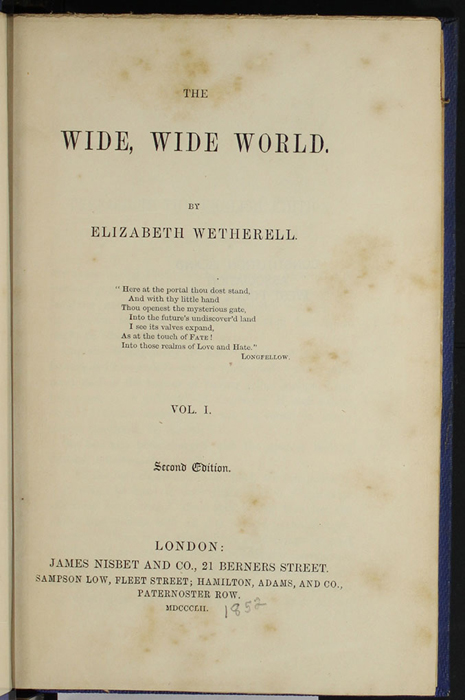 "Title Page to Volume 1 of the 1852 James Nisbet, Sampson Low, Hamilton, Adams & Co. ""Second Edition"" Reprint"