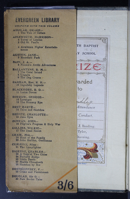 """Front Inside Flap of the Dust Jacket of the [1896] Simpkin, Marshall & Co., Ltd. """"The Evergreen Library"""" Reprint"""