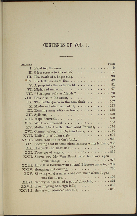 "Table of Contents of Volume 1 of the 1891 J. B. Lippincott Co. ""New Edition"" Reprint"