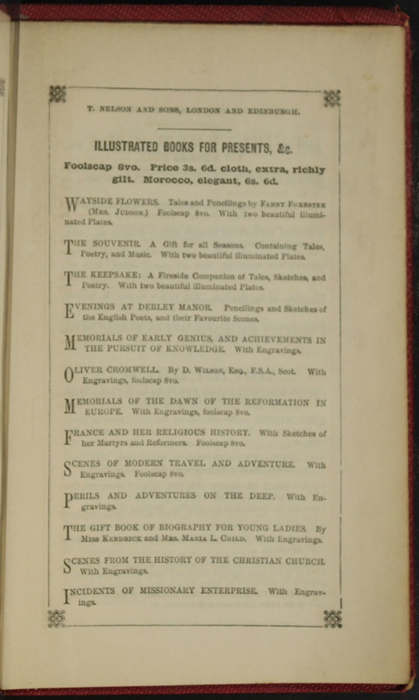 Eighth Page of Back Advertisements in the 1852 T. Nelson & Sons Reprint, Version 1