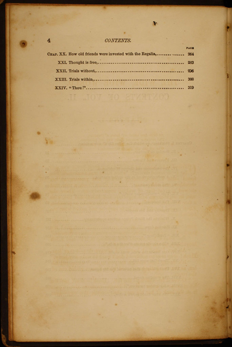 Second Page of the Table of Contents for Volume 2 of the 1852 George P. Putnam 16th Edition, Version 1