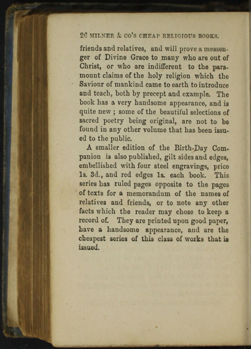 Twenty-Sixth Page of Back Advertisements in the [1868] Milner & Co. Reprint, Version 1
