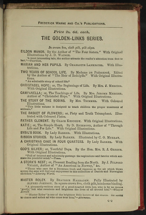 "First Page of Back Advertisements in [1890] Frederick Warne & Co. ""Star Series"" Reprint, Version 2"