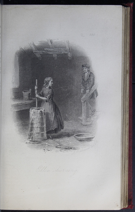 Illustration on Page 330a of the G. Bell 1889 Reprint Depicting Ellen Churning