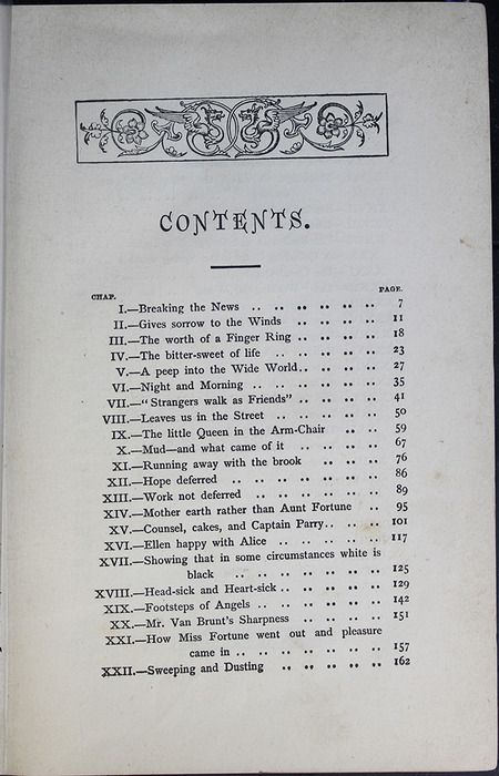 First Page of the Table of Contents for the [1887] W. Nicholson & Sons Reprint, Version 2