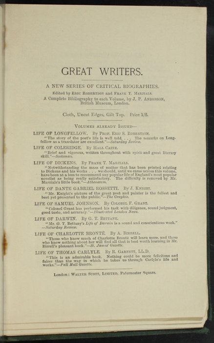 "Ninth Page of Back Advertisements in the [1893] Walter Scott, Ltd. ""Emerald Library"" Reprint"