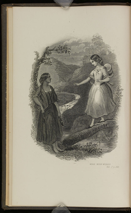 """Frontispiece to the 1871 J. B. Lippincott & Co. """"New Edition"""" Reprint Depicting Ellen and Nancy at the Brook"""