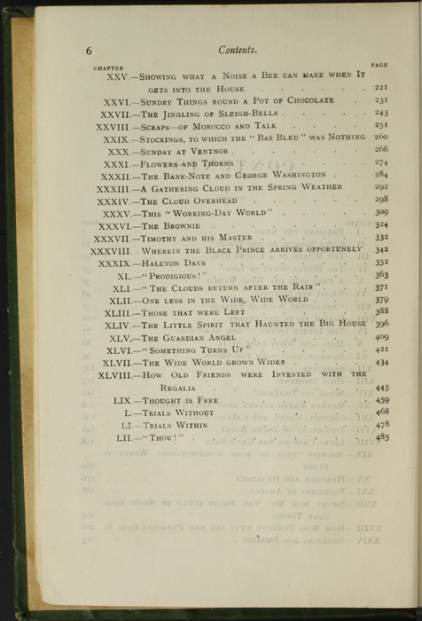 "Second Page of the Table of Contents of the [1903] Ward, Lock, & Co., Ltd. ""Complete Edition"" Reprint"