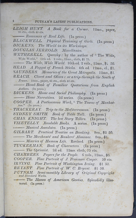 Second Page of Front Advertisements in Volume 1 of the 1852 George P. Putnam 16th Edition, Version 2