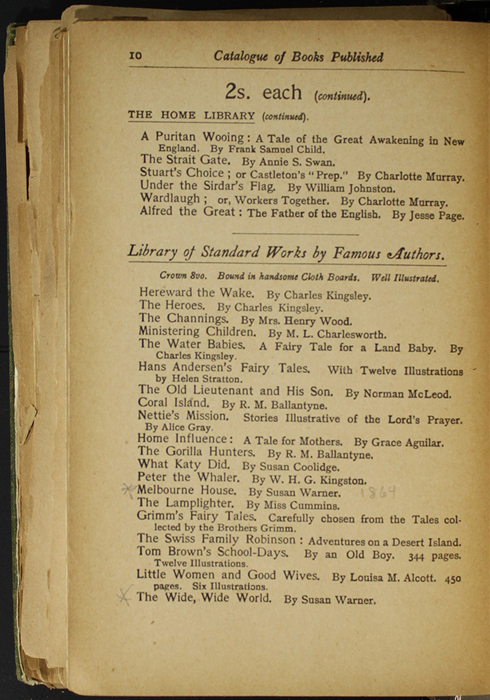 Tenth Page of Back Advertisements in the [1904] S. W. Partridge & Co. Reprint