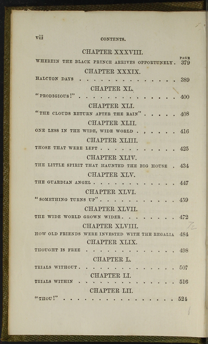 Fourth Page of the Table of Contents of the 1853 G. Routledge and Co. Reprint