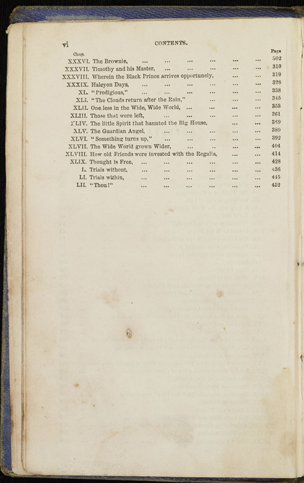 Second Page of the Table of Contents for the 1853 T. Nelson & Sons Reprint