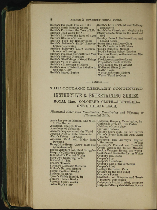 Eighth Page of Back Advertisements in the [1879] Milner & Sowerby Reprint