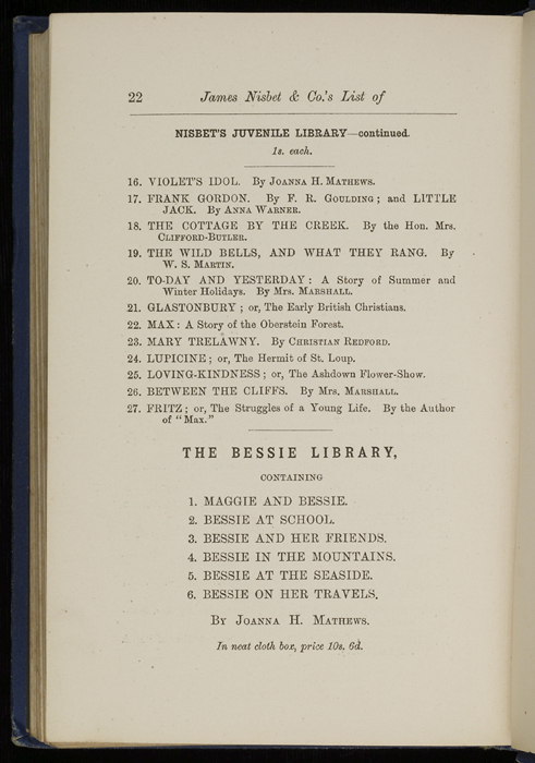 "Twenty-second Page of Back Advertisements in 1886 James Nisbet & Co. ""New ed. Golden Ladder Series"" Reprint"
