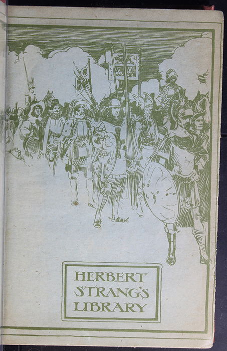 "Front Endpaper with Illustration of the [1918] Humphrey Milford/Oxford University Press ""Herbert Strang's Library"" Reprint"