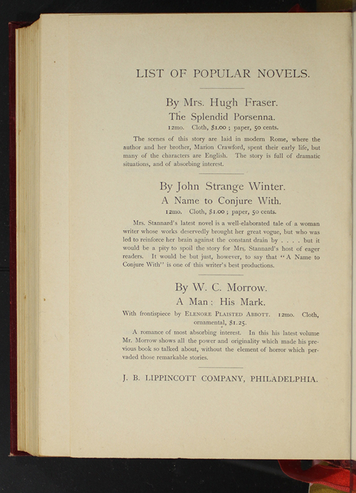 """Second Page of Back Advertisements of the 1903 J. B. Lippincott Co. """"New Edition"""" Reprint"""