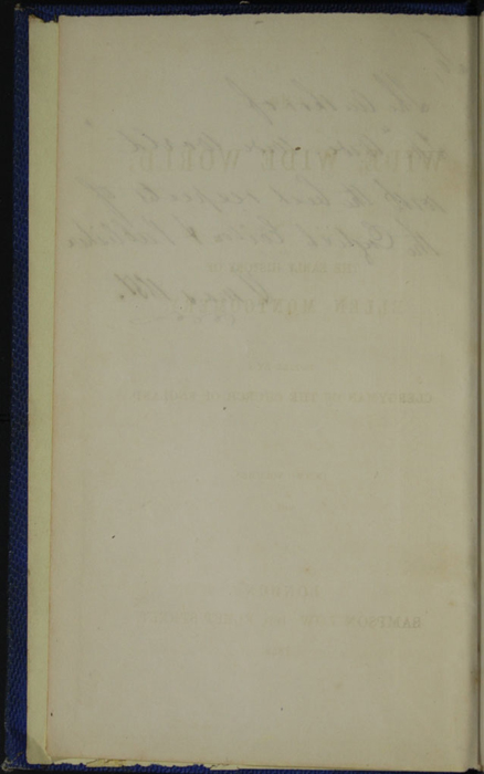 Verso of Front Flyleaf of Volume 1 of the 1852 Sampson Low Reprint
