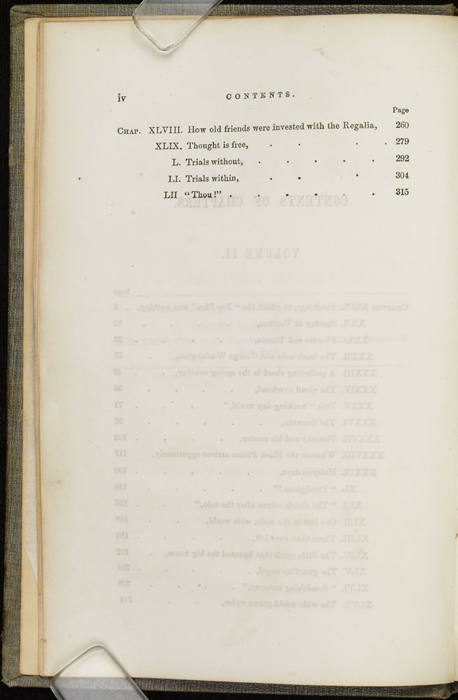 Second Page of the Table of Contents for Volume 2 of the 1851 George P. Putnam First Edition<br /><br />