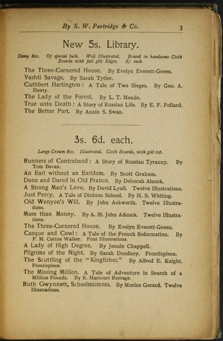 Third Page of Back Advertisements in the [1904] S. W. Partridge & Co. Reprint