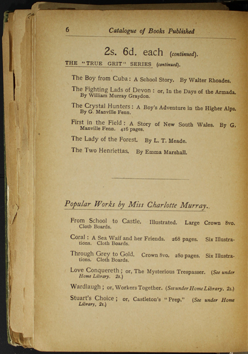 Sixth Page of Back Advertisements in the [1904] S. W. Partridge & Co. Reprint