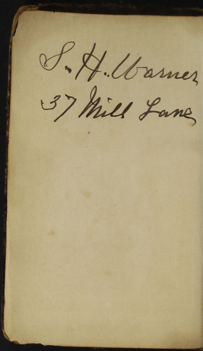Front Pastedown with Inscription of the [1874] William Nicholson & Sons, S.D. Ewins & Co. Reprint