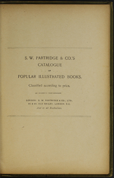 First Page of Back Advertisements in the [1910] S. W. Partridge & Co., Ltd. Reprint