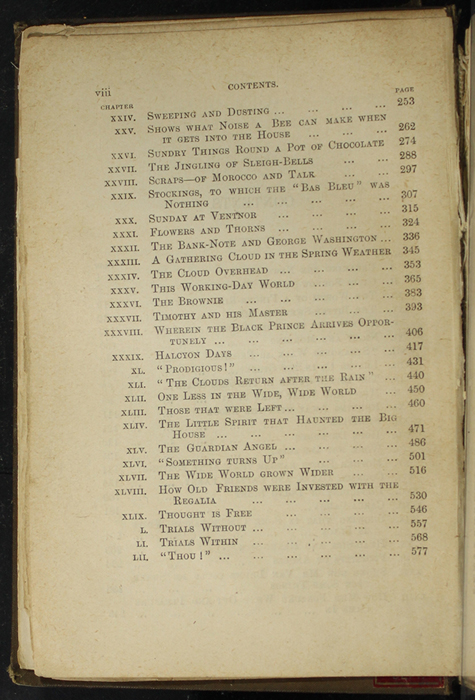 """Second Page of the Table of Contents for [1891] James Nisbet & Co. """"New ed."""" Reprint"""