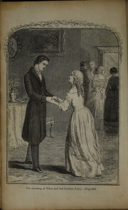 Frontispiece to the [1853] Clarke, Beeton, & Co. Reprint, Version 1 Depicting Ellen Reuniting with John in Scotland