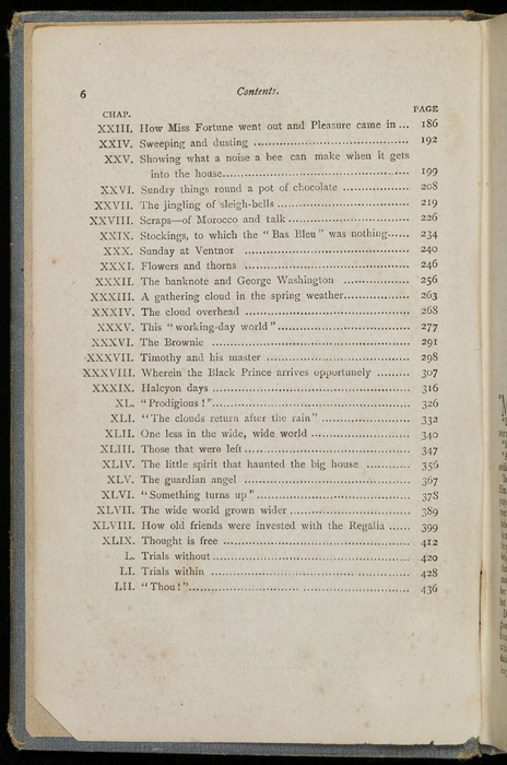 """Second Page of the Table of Contents for the [1892] Ward, Lock & Co. """"Pansy Series"""" Reprint"""