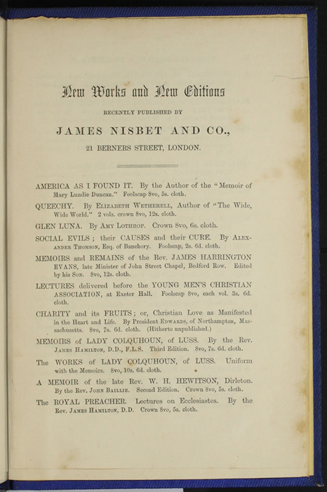 "First Page of Back Advertisements in Volume 2 of the 1852 James Nisbet, Sampson Low, Hamilton, Adams & Co. ""Second Edition"" Reprint"