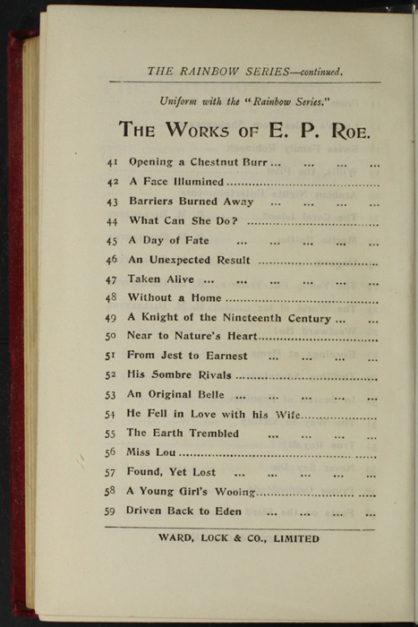 """Fourteenth Page of Back Advertisements in the [1902] Ward, Lock, & Co., Ltd. """"Complete Edition"""" Reprint"""