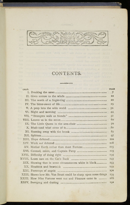 "First Page of the Table of Contents for the [1884] Ward, Lock & Co. ""Lily Series, Complete Edition"" Reprint"