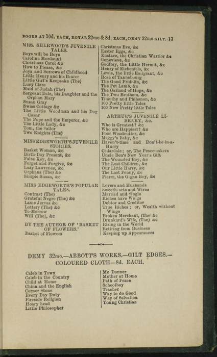 Thirteenth Page of Back Advertisements in the [1879] Milner & Sowerby Reprint