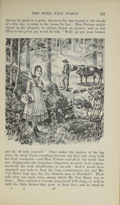 "Illustration on Page 337 of 1892 J. B. Lippincott Company ""New Edition"" Reprint Depicting Ellen and Mr. Van Brunt in the Woods"