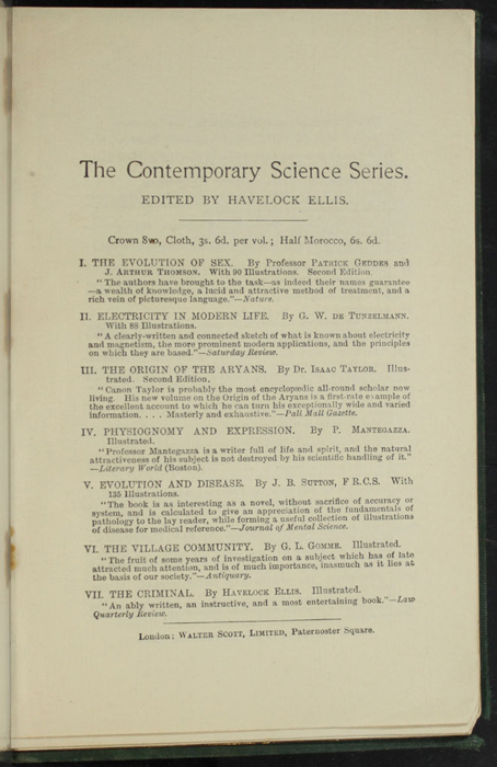 """Thirteenth Page of Back Advertisements in the [1893] Walter Scott, Ltd. """"Emerald Library"""" Reprint"""