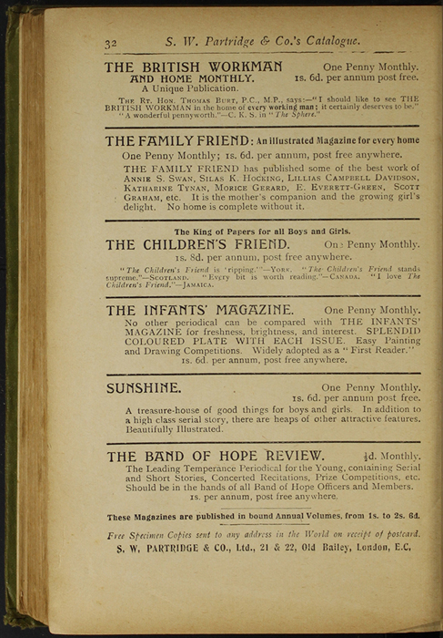 Thirty-Second Page of Back Advertisements in the [1910] S. W. Partridge & Co., Ltd. Reprint