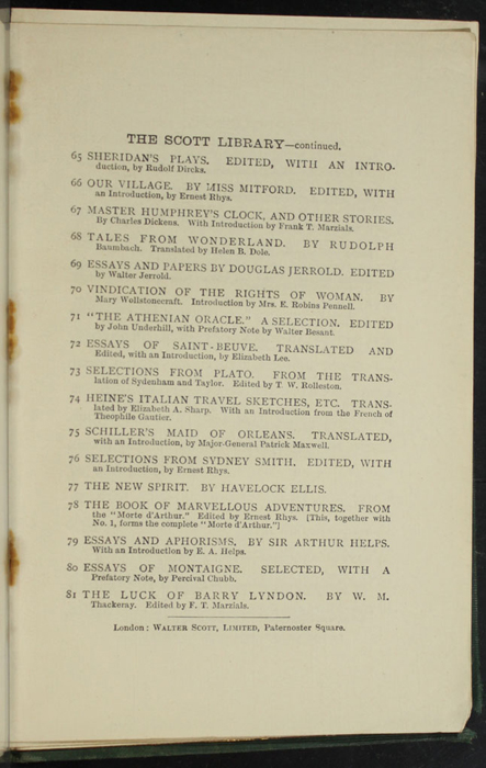 """Fifth Page of Back Advertisements in the [1893] Walter Scott, Ltd. """"Emerald Library"""" Reprint"""