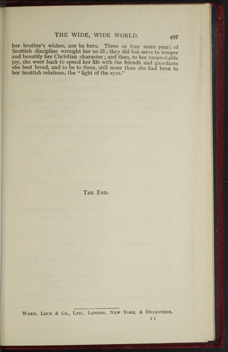 """Last Page of Text with Publisher Information in the [1902] Ward, Lock, & Co., Ltd. """"Complete Edition"""" Reprint"""
