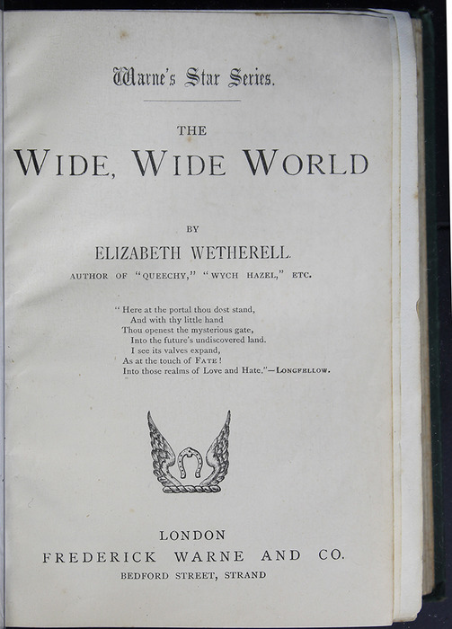 """Title Page to the [1884] Frederick Warne & Co. """"Star Series"""" Reprint"""