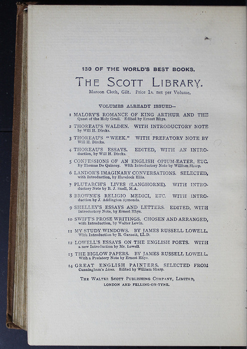 Second Page of Back Advertisements in the [1896] The Walter Scott Publishing Co. Ltd. Reprint