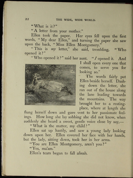 Illustrationon Page 22 of the [1918] Thomas Nelson & Sons, Ltd. Abridged Reprint Depicting Ellen Reading Mamma's Letter