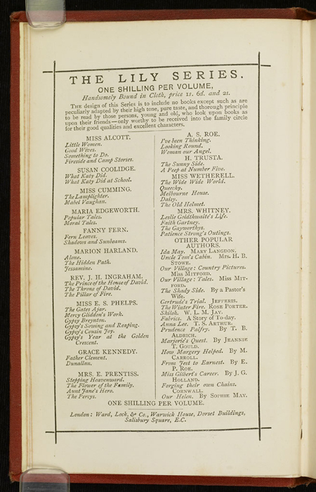 """Advertisements on Verso of Title Page to the [1877] Ward, Lock & Co. """"Good Tone Library, Complete Edition"""" Reprint"""
