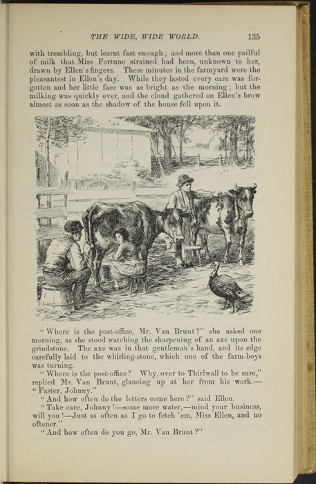 "Illustration on Page 135 of the 1892 J. B. Lippincott Company ""New Edition"" Reprint Depicting Ellen in the Barnyard"