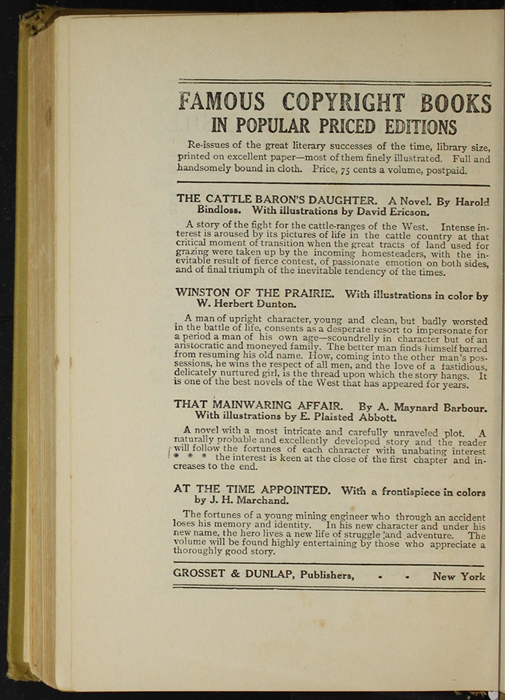 Fourth Page of Back Advertisements in the [1907] Grosset & Dunlap Reprint, Version 3