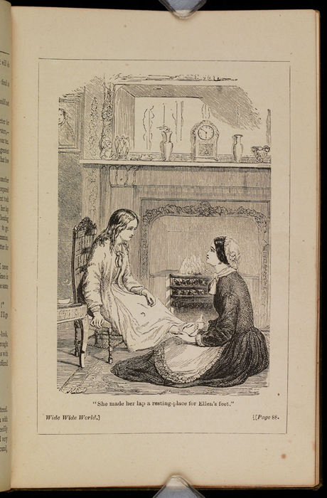 """Illustration on Page 88b of the [1885] Ward, Lock & Co. """"Home Treasure Library, Complete Edition"""" Reprint Depicting Mrs. Van Brunt Tending to Ellen's Feet"""